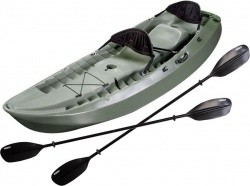 Lifetime OD Green Sport Fisher Kayak with Paddles and Backrest - $465.00