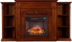 Gwynne Infrared Electric Fireplace with Bookcases, Autumn Oak ...